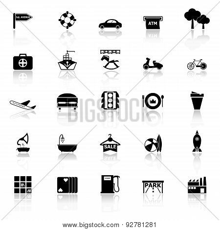 Map Place Icons With Reflect On White Background