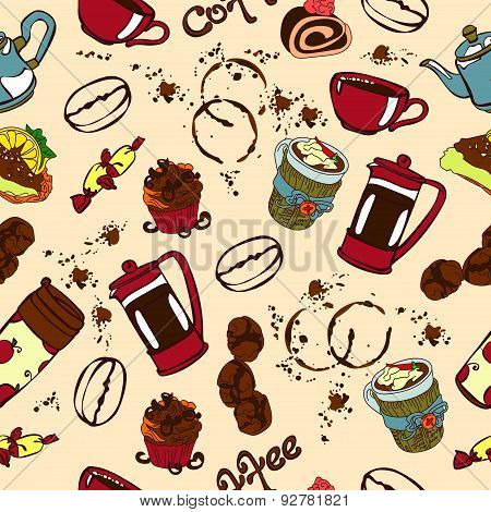 Coffee. Vector seamless pattern (texture) with with objects coffee category.