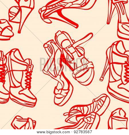Women's shoes. Vector seamless illustration