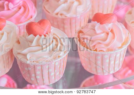 Colorful Of Sweet Cup Cake On Plate.