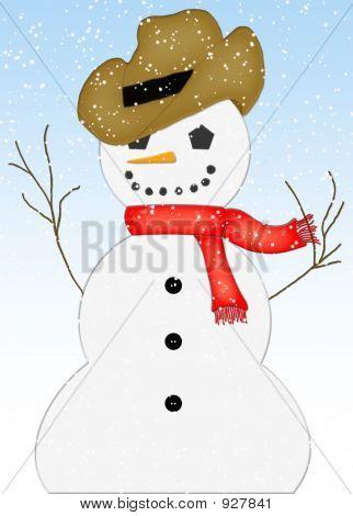 Snowman In Snow