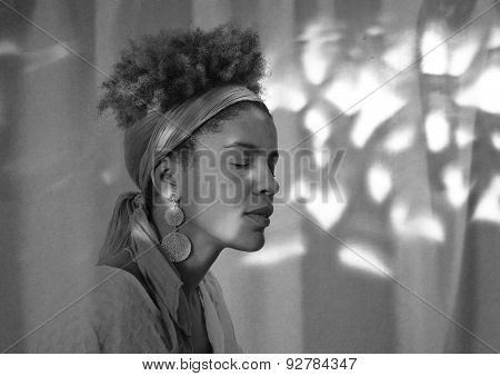 Young Afro American Woman Profile With Closed Eyes - Studio Shot -  Lights And Shadows