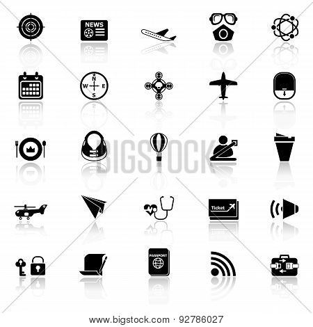Air Transport Related Icons With Reflect On White Background