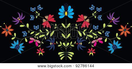 European Culture Inspired Folk Floral Pattern In Colour On Black Background