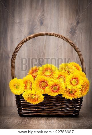 Bouquet of gerber flowers in the wicker