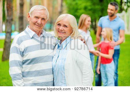 Happy Seniors With Family.