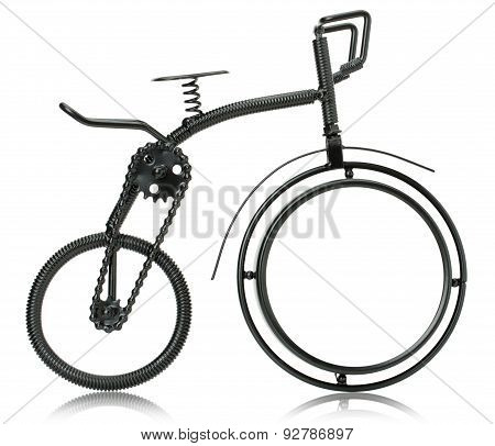 Miniature Of A Bike Isolated On The White Background