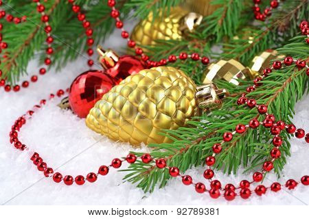 Gold Bump And Christmas Decorations