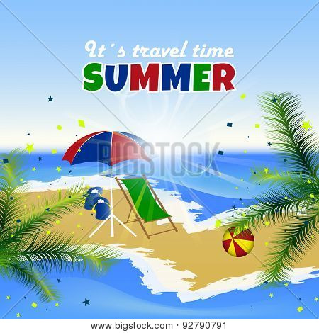 Summer background, palm trees, sea, beach and confetti