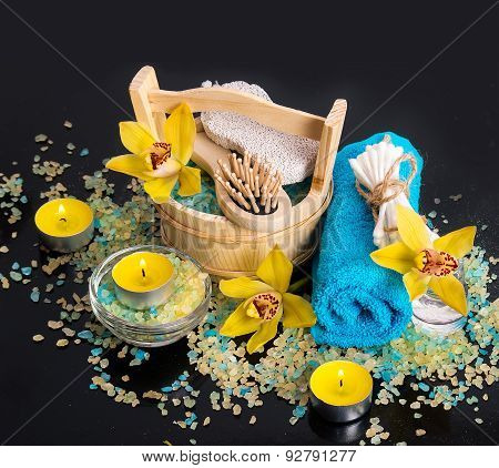 Spa Concept. Orchid Flowers, Sea Salt, Candles And Objects For Spa Procedures