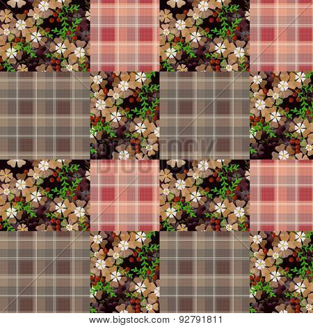Patchwork Retro Checkered Floral Pattern Background