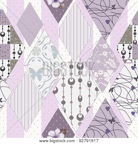 Patchwork Design Seamless Pattern Ornament Pink  Background