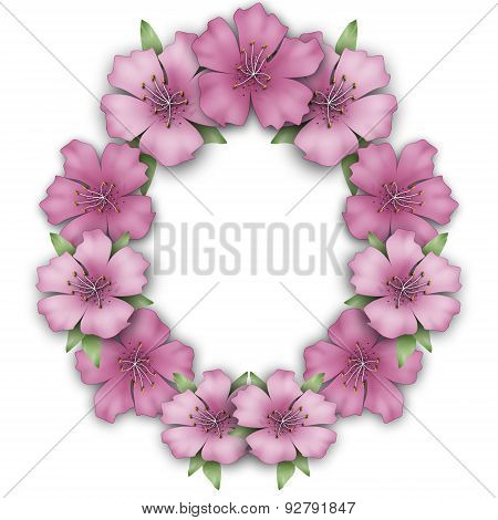 Flower Frame Border. Bouquet Azalea Background