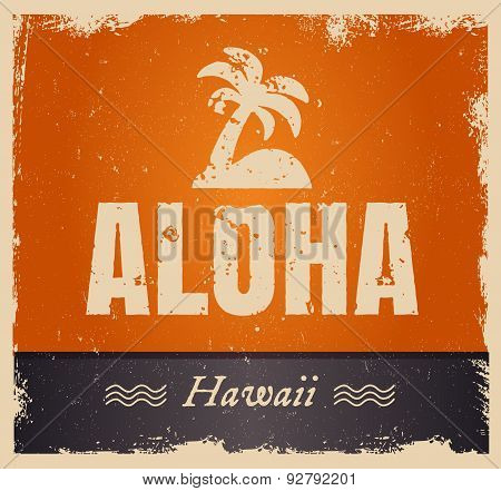 Vector aloha word in vintage colors, retro background
