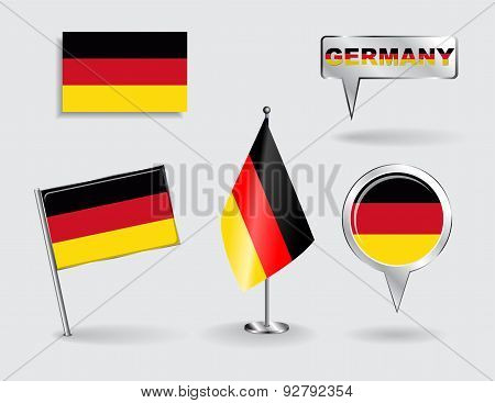Set of German pin, icon and map pointer flags. Vector