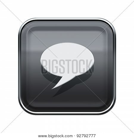 Chat Icon Glossy Grey, Isolated On White Background