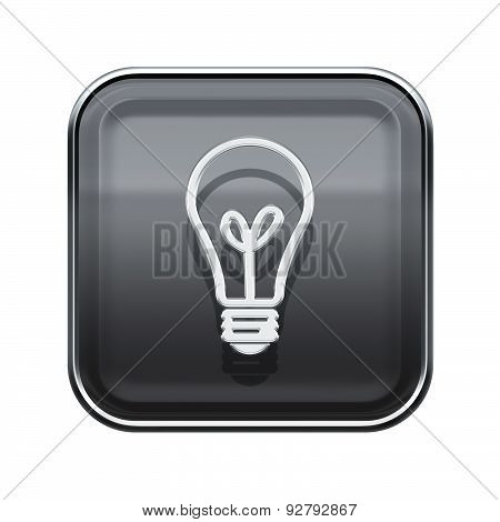 Lightbulb Icon Glossy Grey, Isolated On White Background