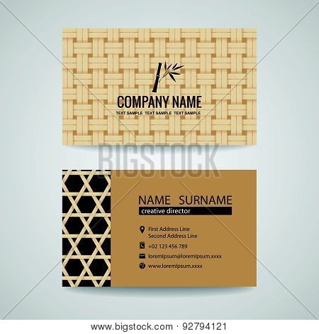 business card brown bamboo weave sheets texture background