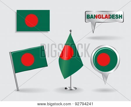 Set of Bangladeshi pin, icon and map pointer flags. Vector