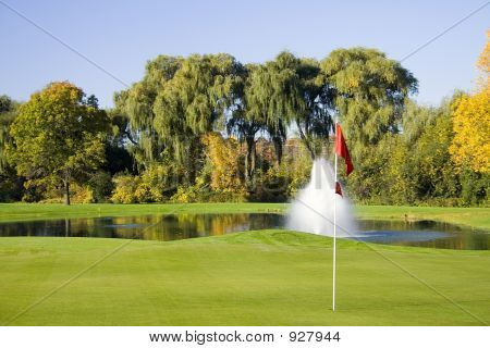 Golf Course Green And Flag