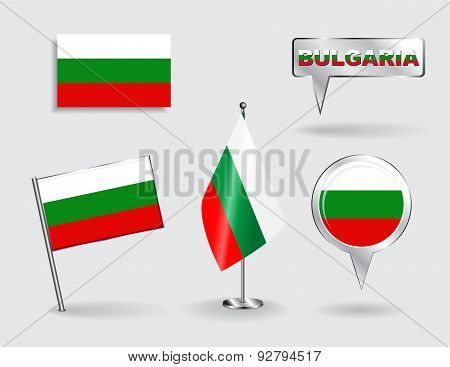 Set of Bulgarian pin, icon and map pointer flags. Vector