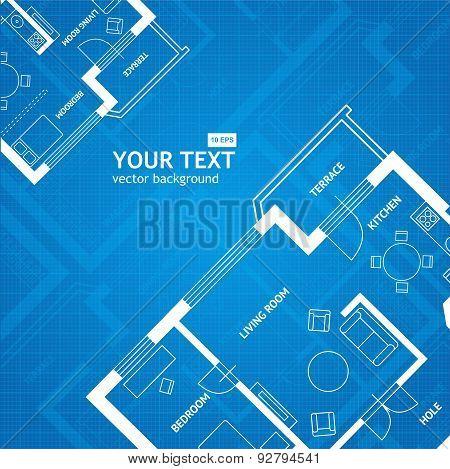 Vector plan blue print. Architectural background.  Flat Design