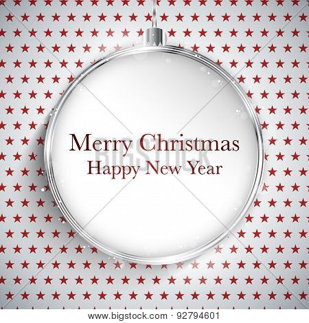 Merry Christmas Happy New Year Ball Silver  On Star Seamless Pattern