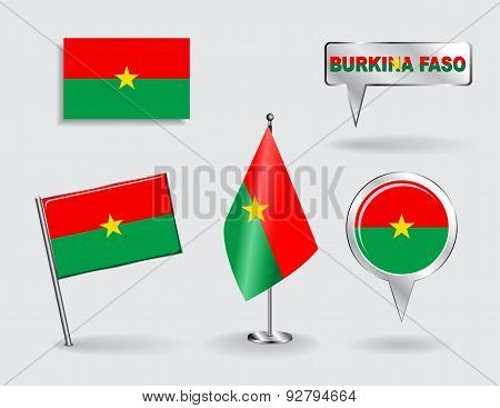 Set of Burkina Faso pin, icon and map pointer flags. Vector