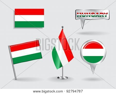Set of Hungarian pin, icon and map pointer flags. Vector