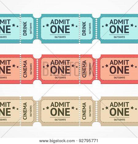 Vector color tickets set line