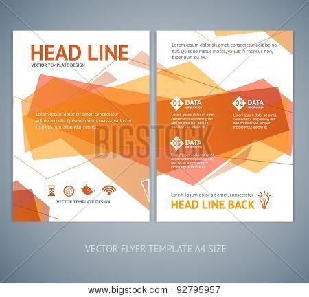 Vector abstract  geometric orange wave brochure flyer design templates