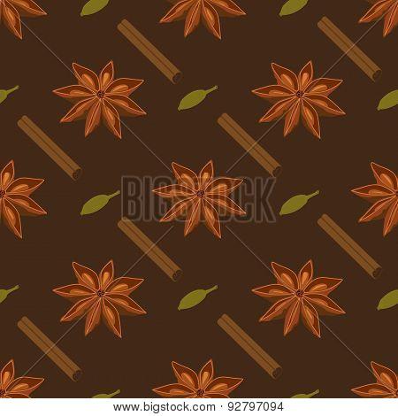 Spices seamless pattern. Star anise, cardamon, cinnamon stick