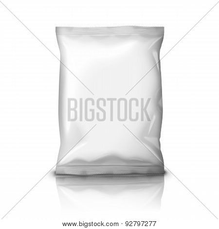 Blank realistic foil snack pack isolated on white background with reflection . Vector