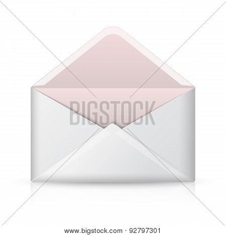 Blank realistic vector opened envelope. Isolated on white background with reflection for design and