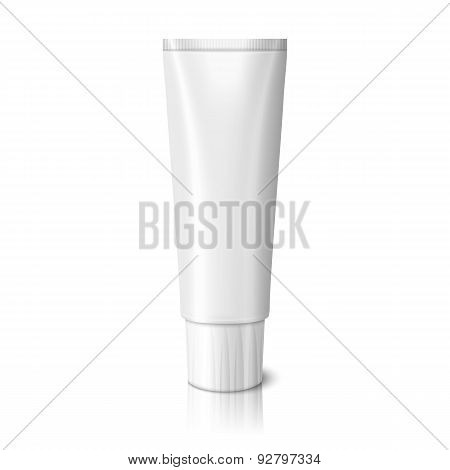 Blank realistic tube for toothpaste, lotion, cosmetics, medicine creme etc. isolated on white backgr