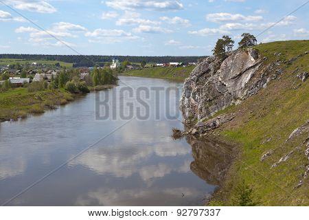 Rocky river Chusovaya in the village of Sloboda. Sverdlovsk region. Russia