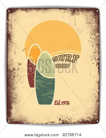 Retro tin plate style poster. Surf shop advertisement with sun, sand and surfboards. EPS10 vector format