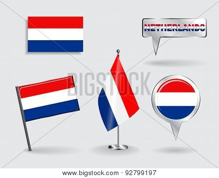 Set of Dutch pin, icon and map pointer flags. Vector