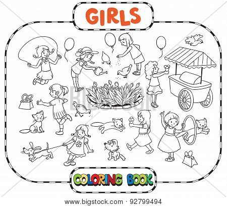Big coloring book with playing girls