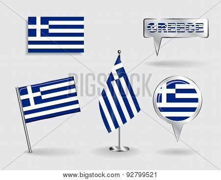 Set of Greek pin, icon and map pointer flags. Vector