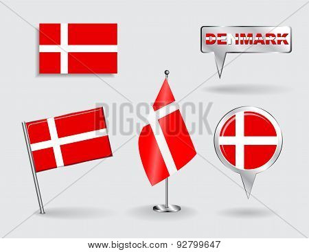Set of Danish pin, icon and map pointer flags. Vector