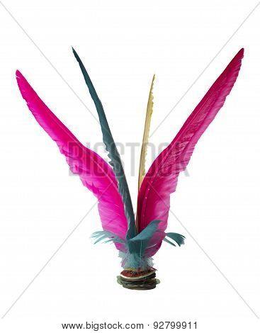Colorful Feather Chinese Jianzi Kicking isolated on white