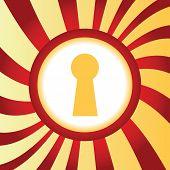 stock photo of keyhole  - Yellow icon with image of keyhole - JPG