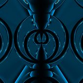 image of mandible  - Two abstract blue spiders fighting on the black background - JPG