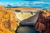 image of dam  - lake powell dam and bridge in page arizona  - JPG