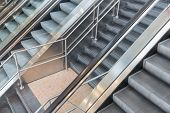 foto of escalator  - Escalators and stairs in a modern shopping mall - JPG