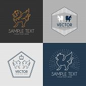 pic of lion  - Set of Line Art Badge or Logo Template - JPG