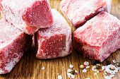 stock photo of frozen  - Frozen beef slices in hoarfrost close up  - JPG