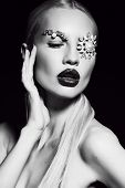stock photo of fantastic  - fashion studio black and white portrait of beautiful sexy woman with blond hair with fantastic makeup with bijou accessories - JPG