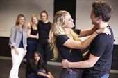 stock photo of drama  - Students Taking Acting Class At Drama College - JPG